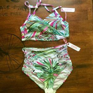 Roma Swim - 🌴Tropical Print🌸 High Waisted Wrap Bikini SMALL